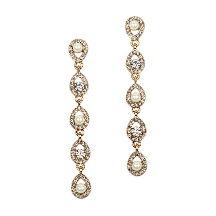 Gold Linear Teardrop Pearl and Crystal Dangle Earrings 4518E-I-G