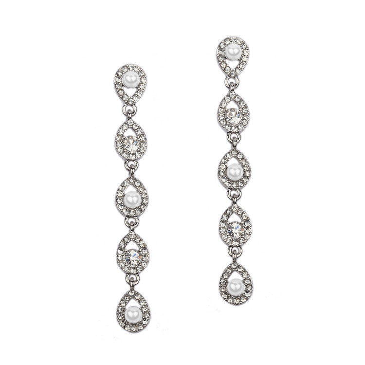 Linear Teardrop White Pearl and Crystal Dangle Earrings 4518E-W-S