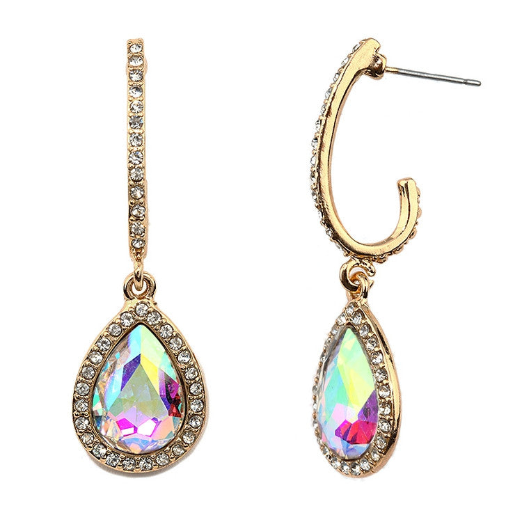 Pave Arc Earrings with Framed Iridescent Teardrops 4519E-AB-G