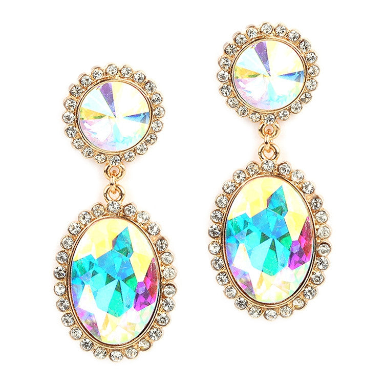 Bold Iridescent Oval Drop Earrings with Rivoli Studs 4521E-AB-G