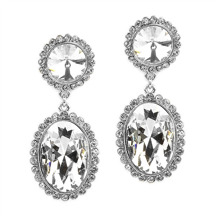 Bold Oval Drop Earrings with Rivoli Studs 4521E-CR-S