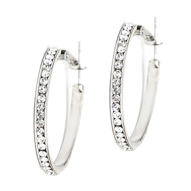 Channel-set Crystal Hoop Earrings 4526E-CR-S