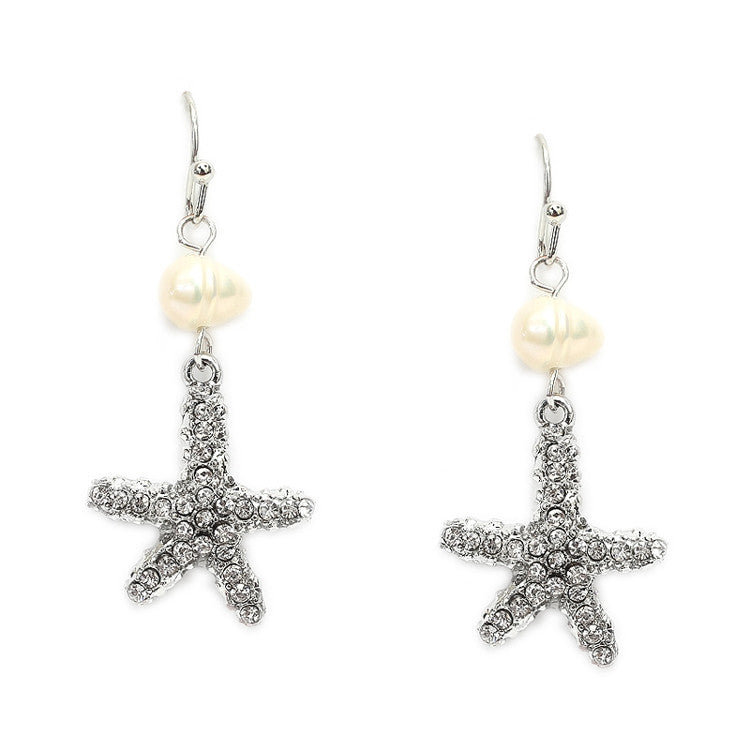 Freshwater Pearl Beach Wedding Earrings with Crystal Starfish 4527E-S
