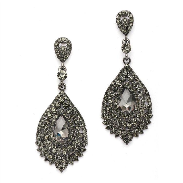 Dramatic Black Diamond Crystal Statement Earrings 4529E-BD