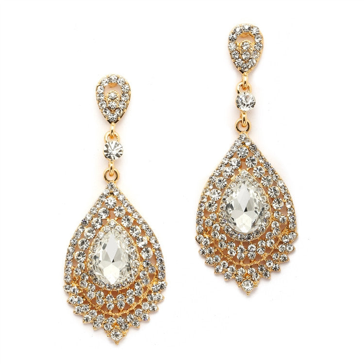 Dramatic  Crystal & Gold Statement Earrings 4529E-CR-G