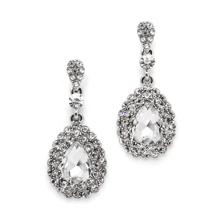Dimensional Crystal Dangle Earrings for Brides or Proms 4534E-CR-S