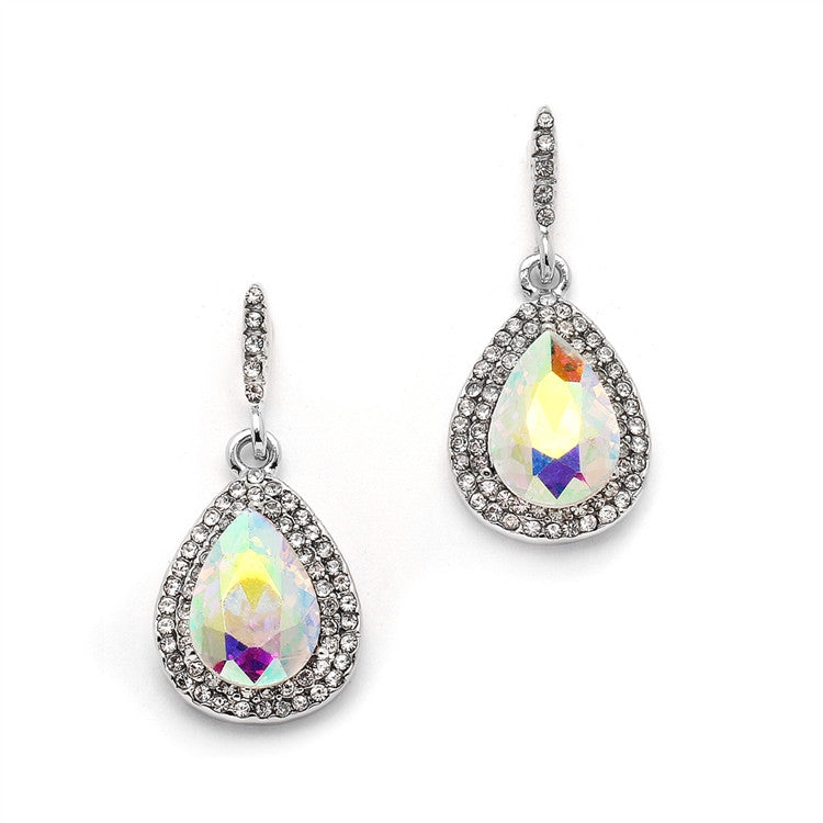 Iridescent Micro-Pave AB Teardrop Earrings 4535E-AB-S