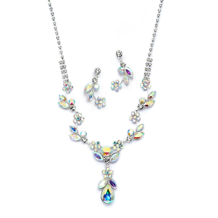 AB Crystal Rhinestone Vine Necklace and Earrings Set 4540S-AB-S