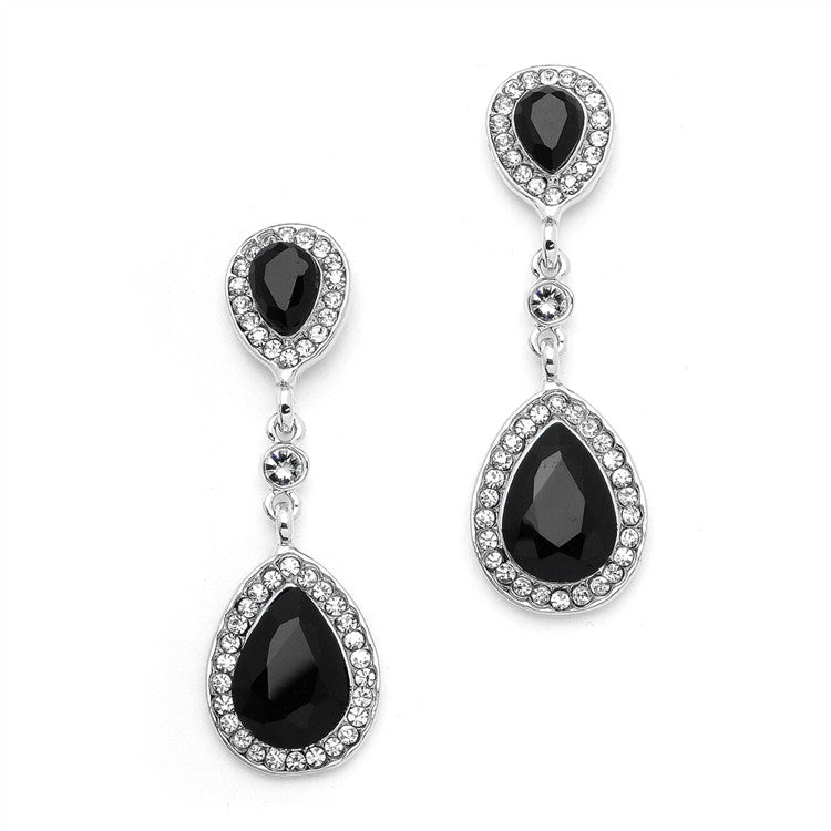 Jet Black Crystal Pear-Shaped Vintage Dangle Earrings 4543E-JE-S