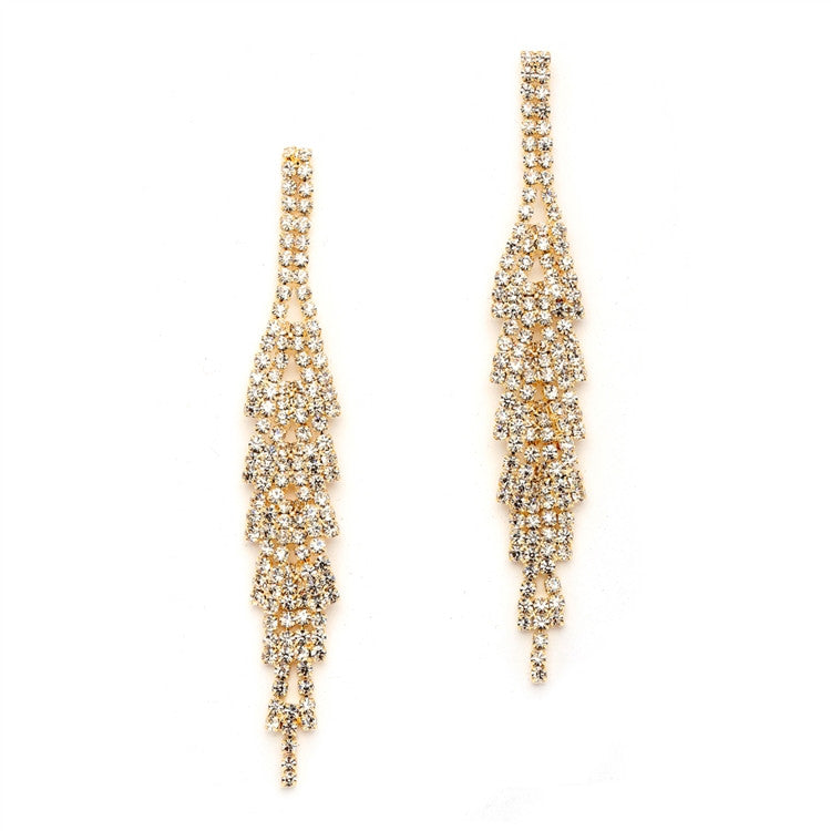 Gorgeous Gold Rhinestone Earrings with Layered Dangles 4544E-CR-G