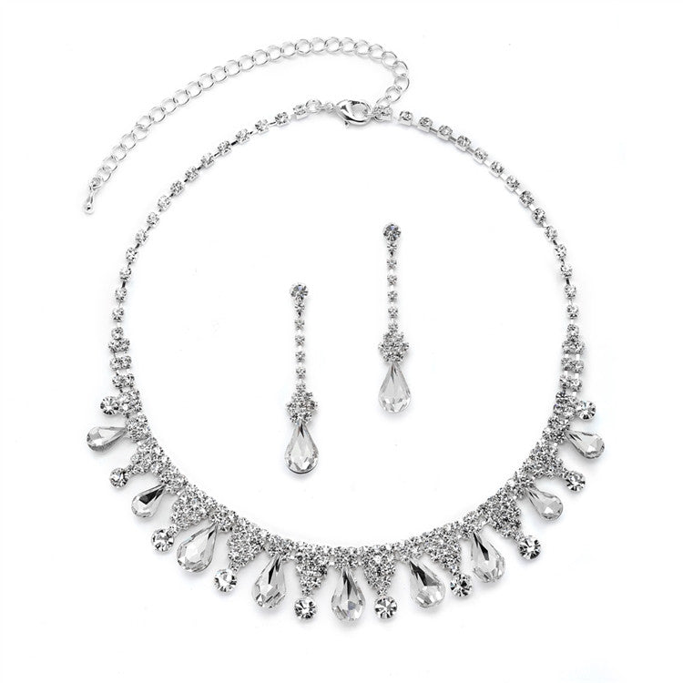 Rhinestone Necklace Set with Pear-shaped Crystals 4546S-CR-S