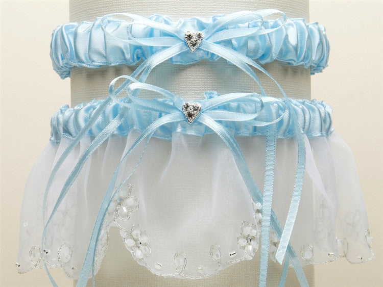 Bridal Garter Set with Inlaid Crystal Hearts 454G