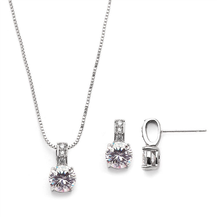 Delicate CZ Round-Cut Necklace and Earrings Set with Pave Top 4551S-S
