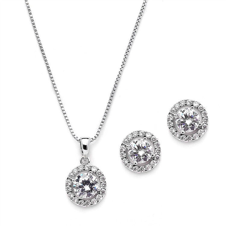 Gleaming Cubic Zirconia Round Shape Halo Necklace and Stud Earrings Set 4552S-S