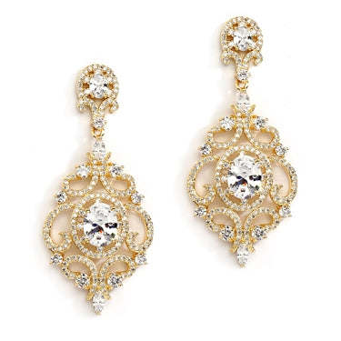 Mariell Victorian Scrolls 14K Gold Plated Cubic Zirconia Wedding Chandelier Earrings 4553E-G