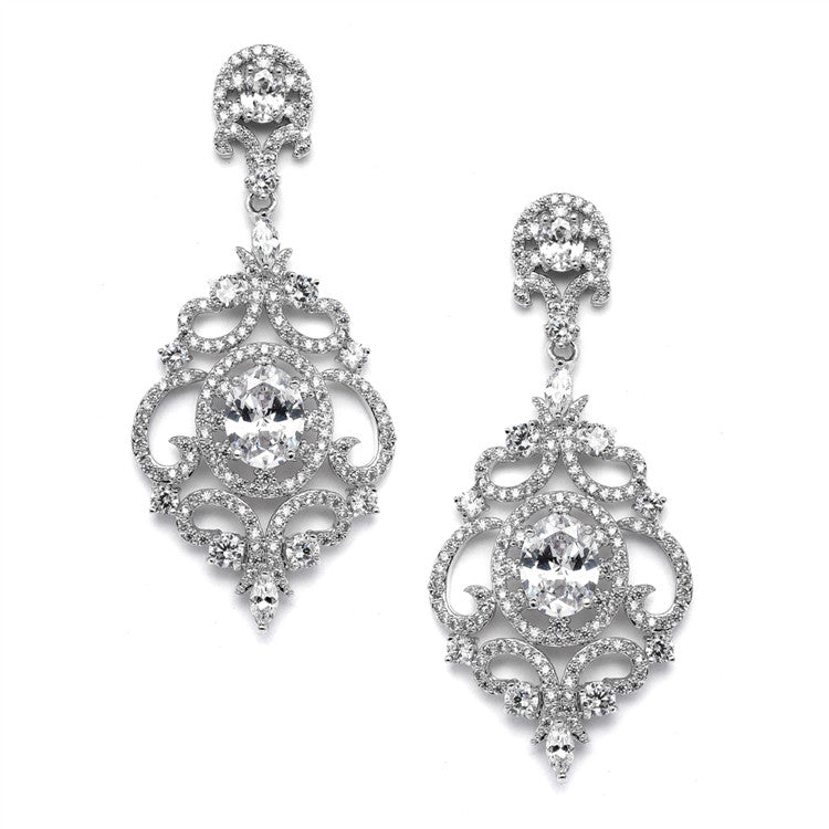 Victorian Scrolls Silver Platinum Plated Cubic Zirconia Wedding Chandelier Earrings 4553E-S