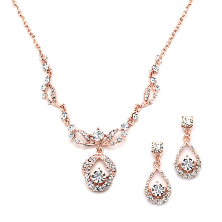 Rose Gold Vintage-Style Crystal Necklace and Earrings Set 4554S-RG