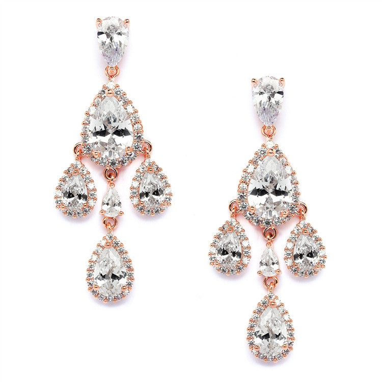 Petite Rose Gold Cubic Zirconium Chandelier Earrings with Pear-Shaped Halo Teardrops 4555E-RG