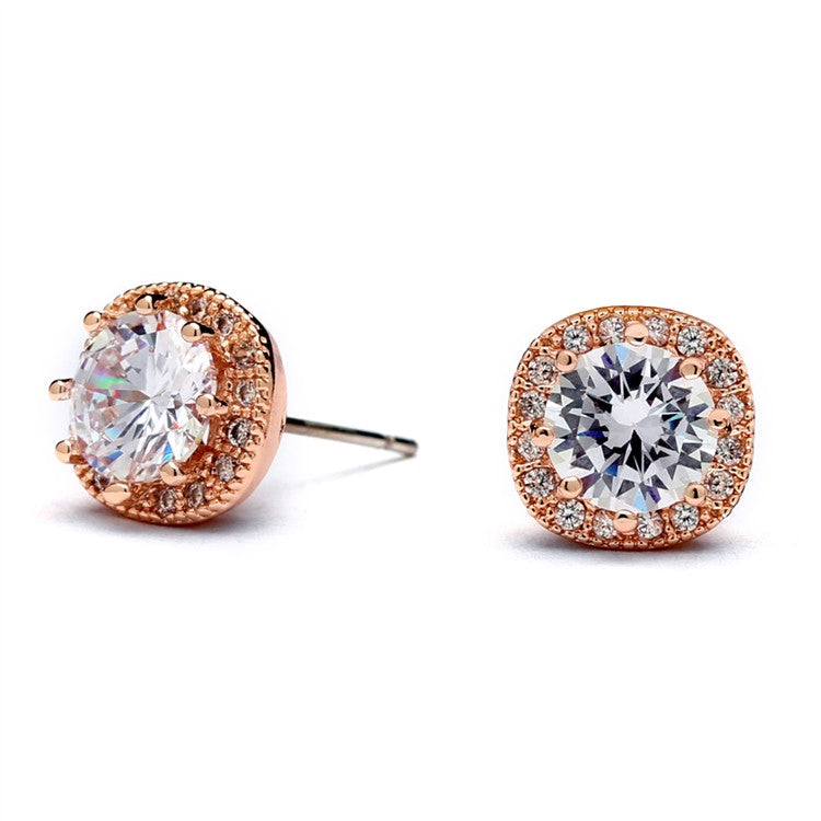 Cubic Zirconia Cushion Shape 10mm Halo Stud Earrings with Round Cut Solitaire 4556E-RG