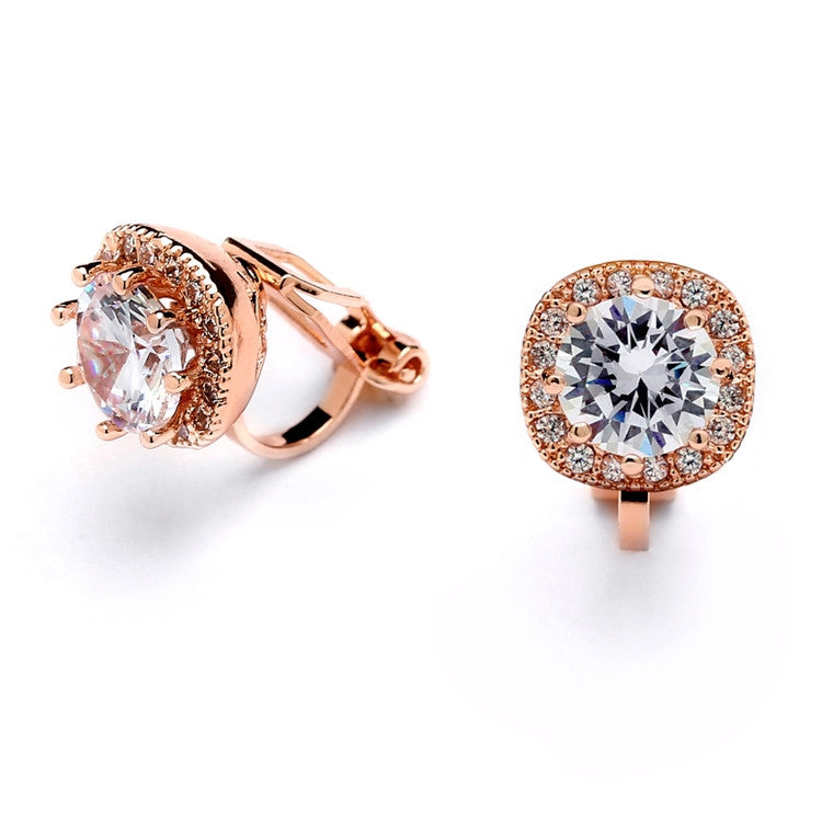 Rose Gold Cubic Zirconia Cushion Shape 10mm Halo Clip On Stud Earrings with Round Cut Solitaire 4556EC-RG