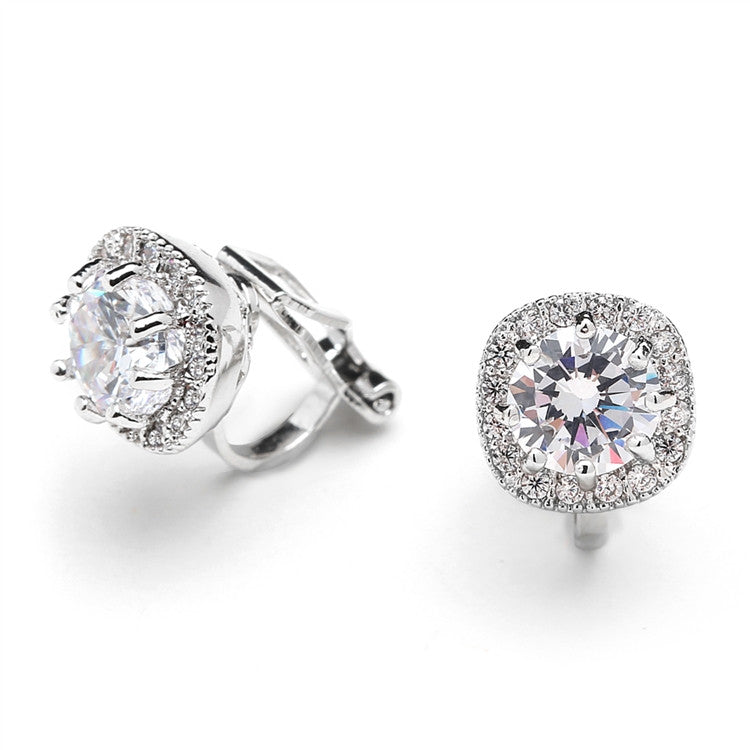 Cubic Zirconia Cushion Shape 10mm Halo Clip On Stud Earrings with Round Cut Solitaire 4556EC