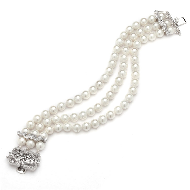 Mariell 3-Row Ivory Shell Pearl Bridal Bracelet with Vintage Cubic Zirconia Clasp 4557B