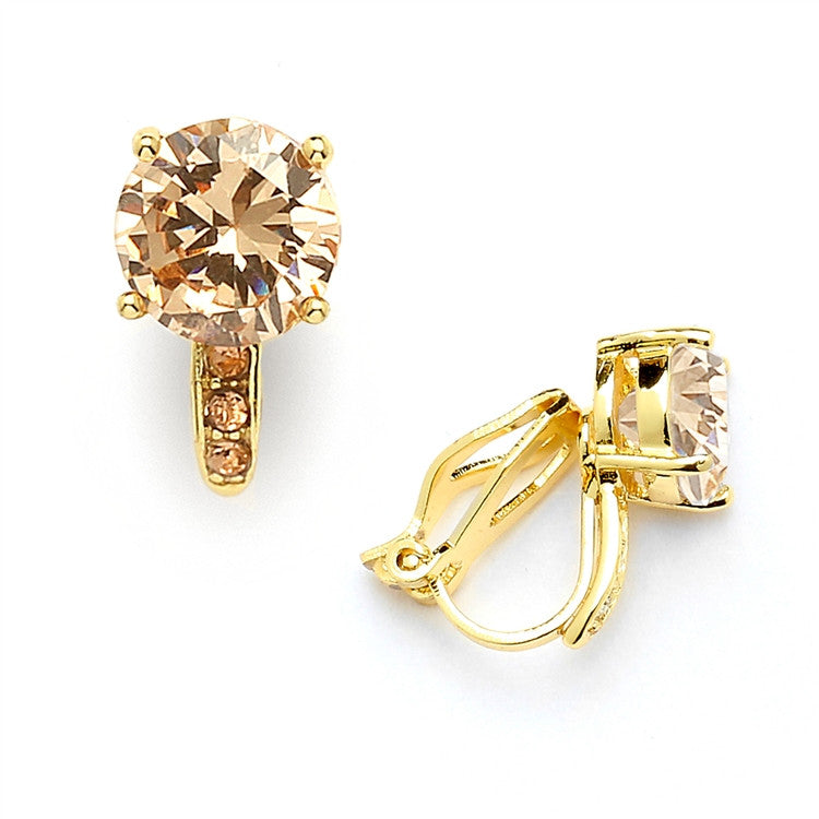 2.0 Ct. Champagne Blush Solitaire CZ Clip-On Stud Earrings - 14k Gold Plated 4558EC-CH-G
