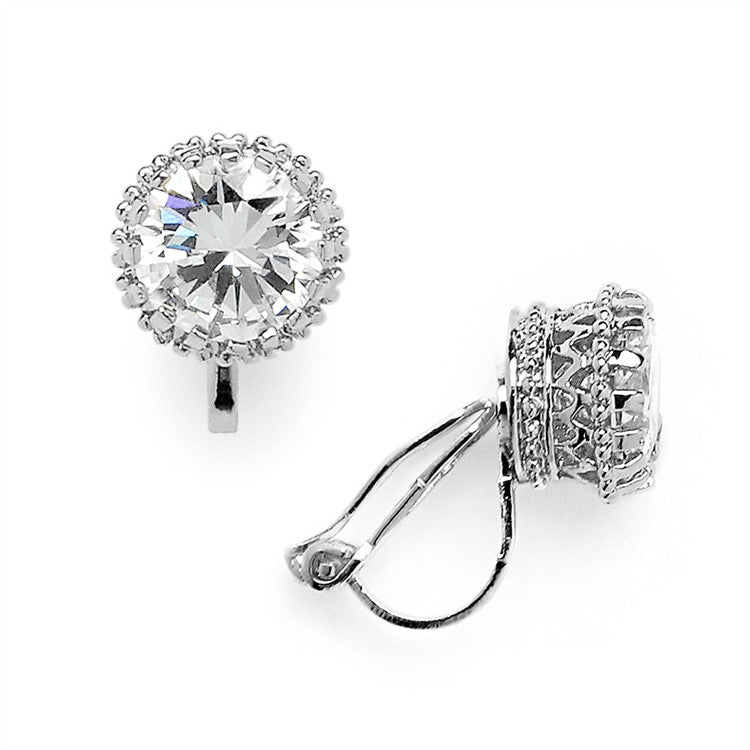 Crown Setting Clip-On 2.0 Ct Round Cubic Zirconia Platinum Plated Stud Earrings 4559EC-S