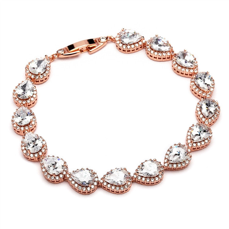 CZ Pears and Rounds Bridal or Bridesmaids Rose Gold Bracelet 4562B-RG