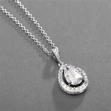 Mariell Couture Cubic Zirconia Framed Pear-Shaped Bridal Necklace