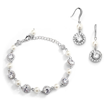 Mariell Ivory Pearl and Cubic Zirconia Bridal Bracelet and Earrings Set 4580BS-I-S