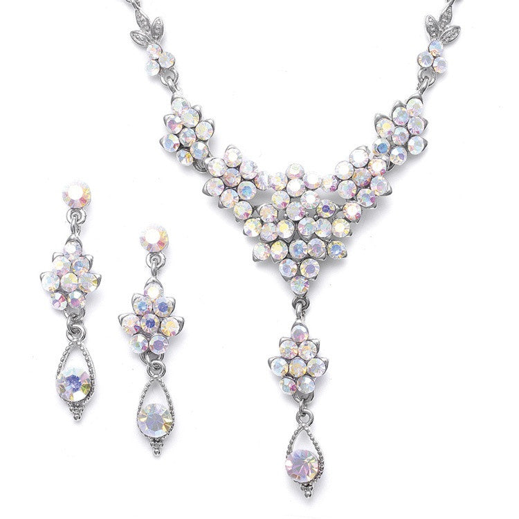 AB Crystal Cluster Necklace Set with Drop 470S