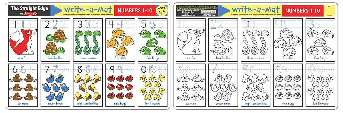 Melissa & Doug Numbers 1-10 Write-A-Mat (Bundle of 6) 5029