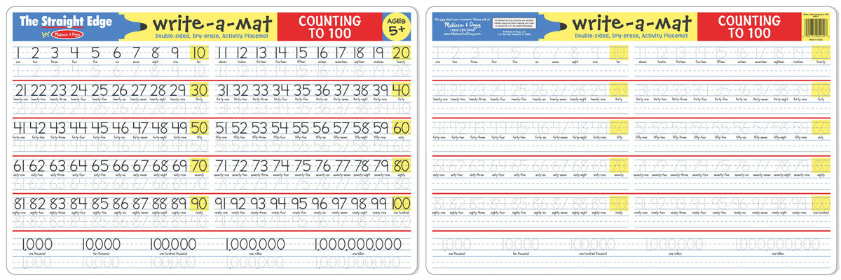 Melissa & Doug Counting to 100 Write-A-Mat (Bundle of 6) 5037