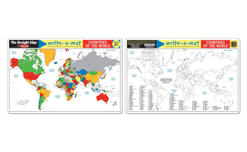 Melissa & Doug Countries of the World Write-a-Mat (Bundle of 6) 5042