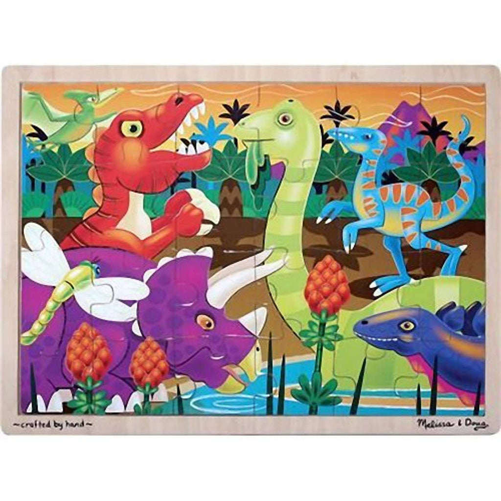 'Prehistoric Sunset with Dinosaurs' 24-Piece Wooden Jigsaw Puzzle + FREE Melissa & Doug Scratch Art Mini-Pad Bundle [29360]
