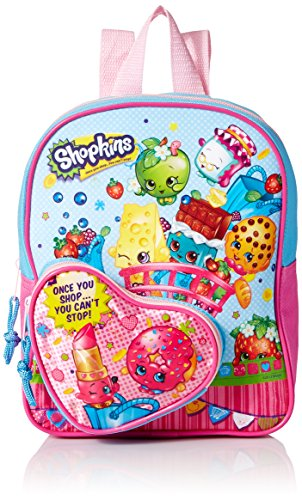 Shopkins Girls 10 Inch Mini Backpack Heart Shaped Pocket, Pink, No Size