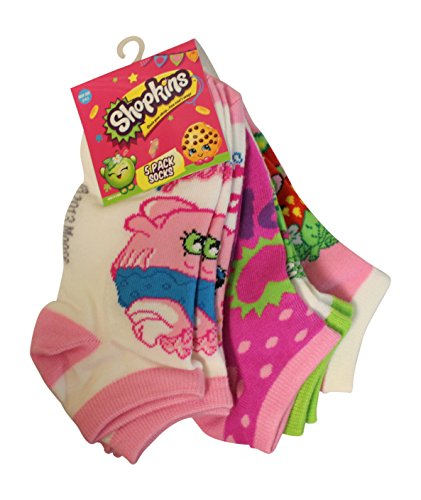 Shopkins Girls Printed No-Show Sock - 5 Pack Multi-Color