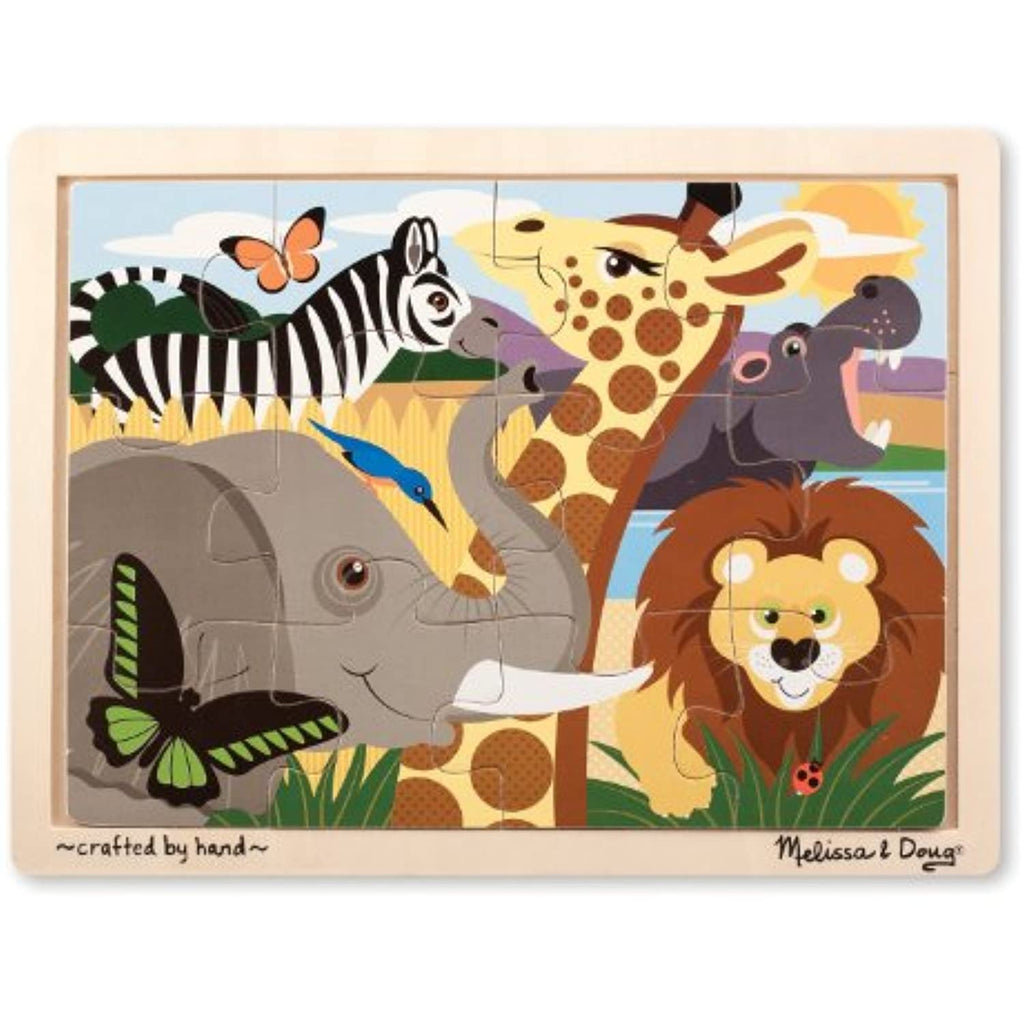 'African Animals' 12-Piece Wooden Jigsaw Puzzle + FREE Melissa & Doug Scratch Art Mini-Pad Bundle [90711]