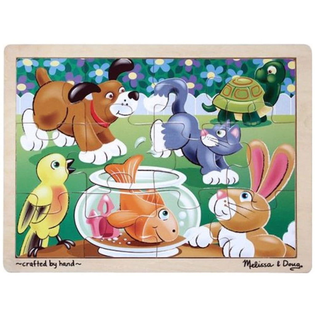 'Playful Pets' 12-Piece Wooden Jigsaw Puzzle + FREE Melissa & Doug Scratch Art Mini-Pad Bundle [29322]