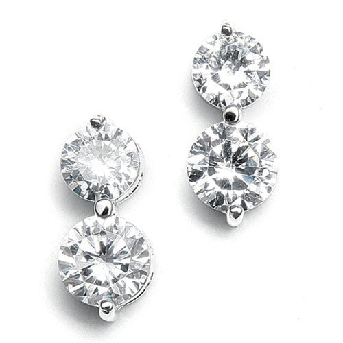 Double Rounds Cubic Zirconia Wedding Earrings 531E