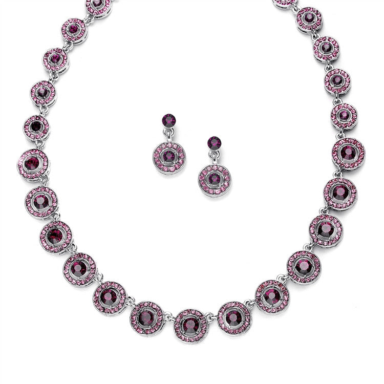 Amethyst Austrian Crystal Circles Necklace & Earrings Set 536S-DA