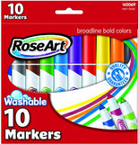 Mattel RoseArt Washable Bold Broadline Markers 10-Count Assorted Colors Packaging May Vary CYB67