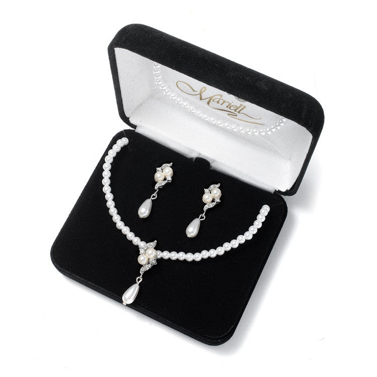3-Pc. Bridal Pearl Pendant Set 654BS-3-W-S