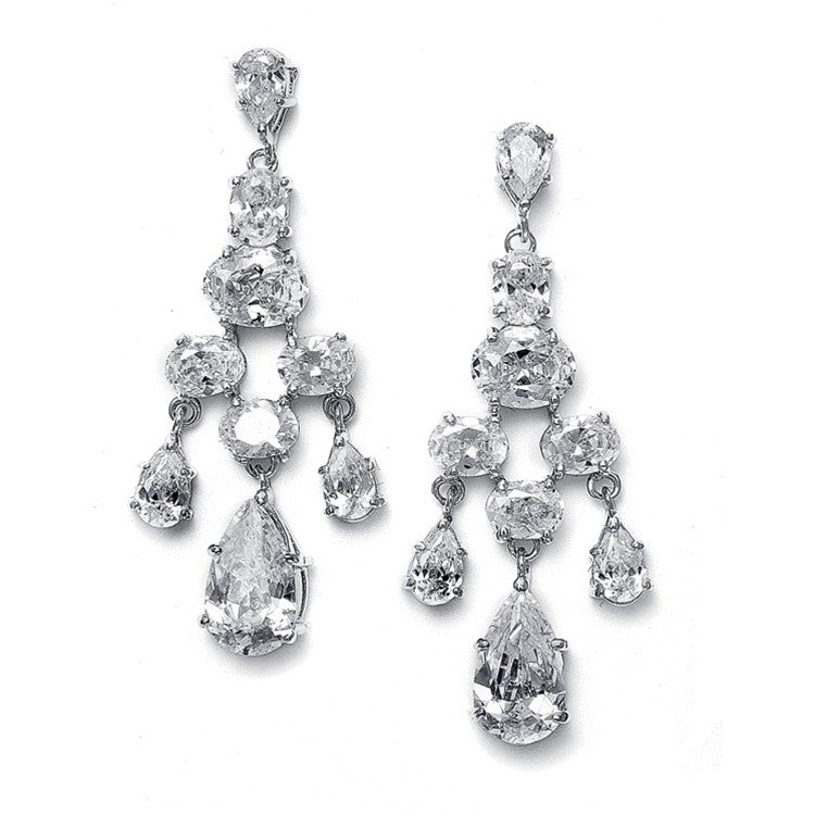 CZ Chandelier Bridal Earrings with Pears and Rounds 671E