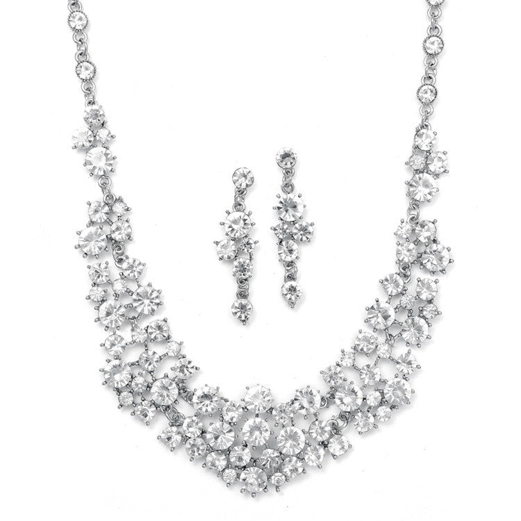Bold Crystal Clusters Necklace and Earrings Set 673S