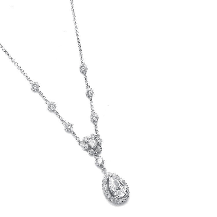 Cubic Zirconia Pendant with pear shaped Drop 689N-S