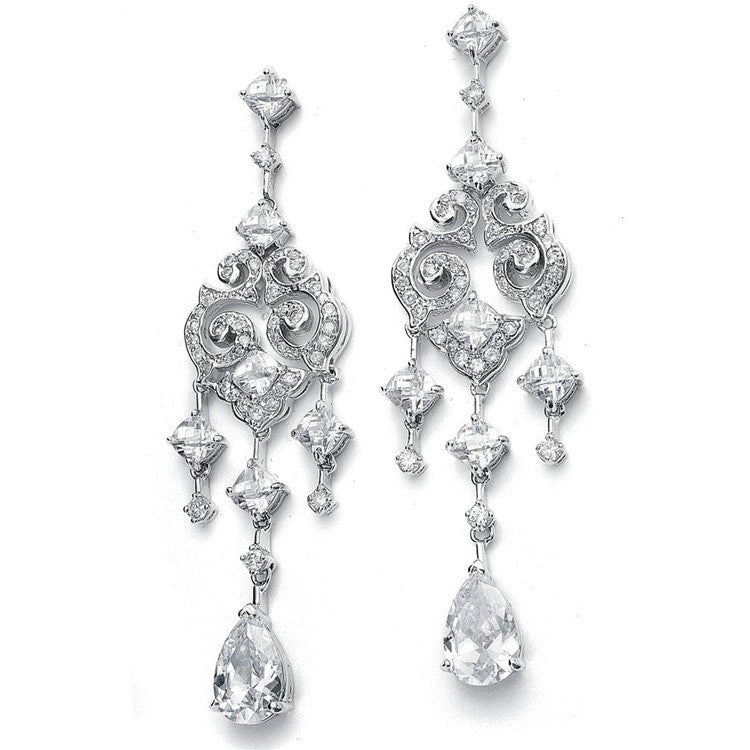 Wholesale Cubic Zirconia Bridal Chandelier Earrings with Pear Dangles 696E-S