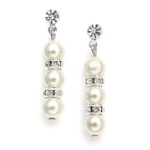 Alternating Pearl and Rondelle Wedding Earrings