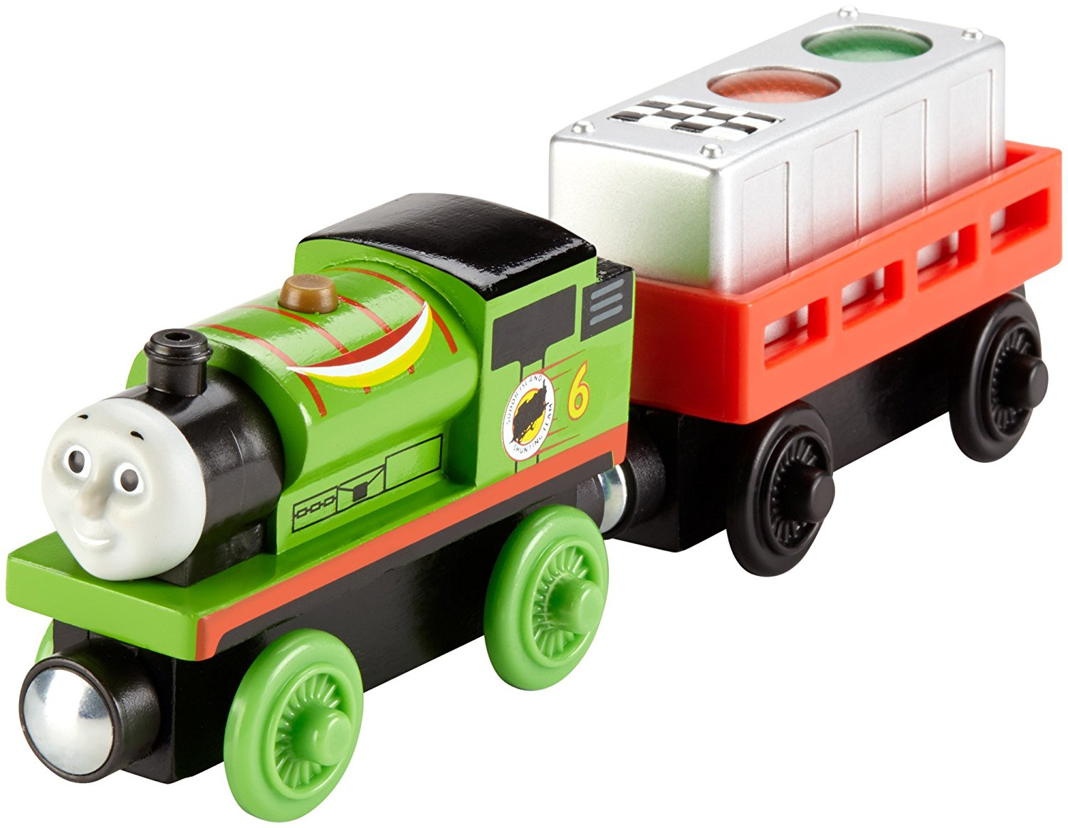Fisher Price  Thomas & Friends Wooden Railway, Ready, Set, Race Percy - Battery Operated DFW80